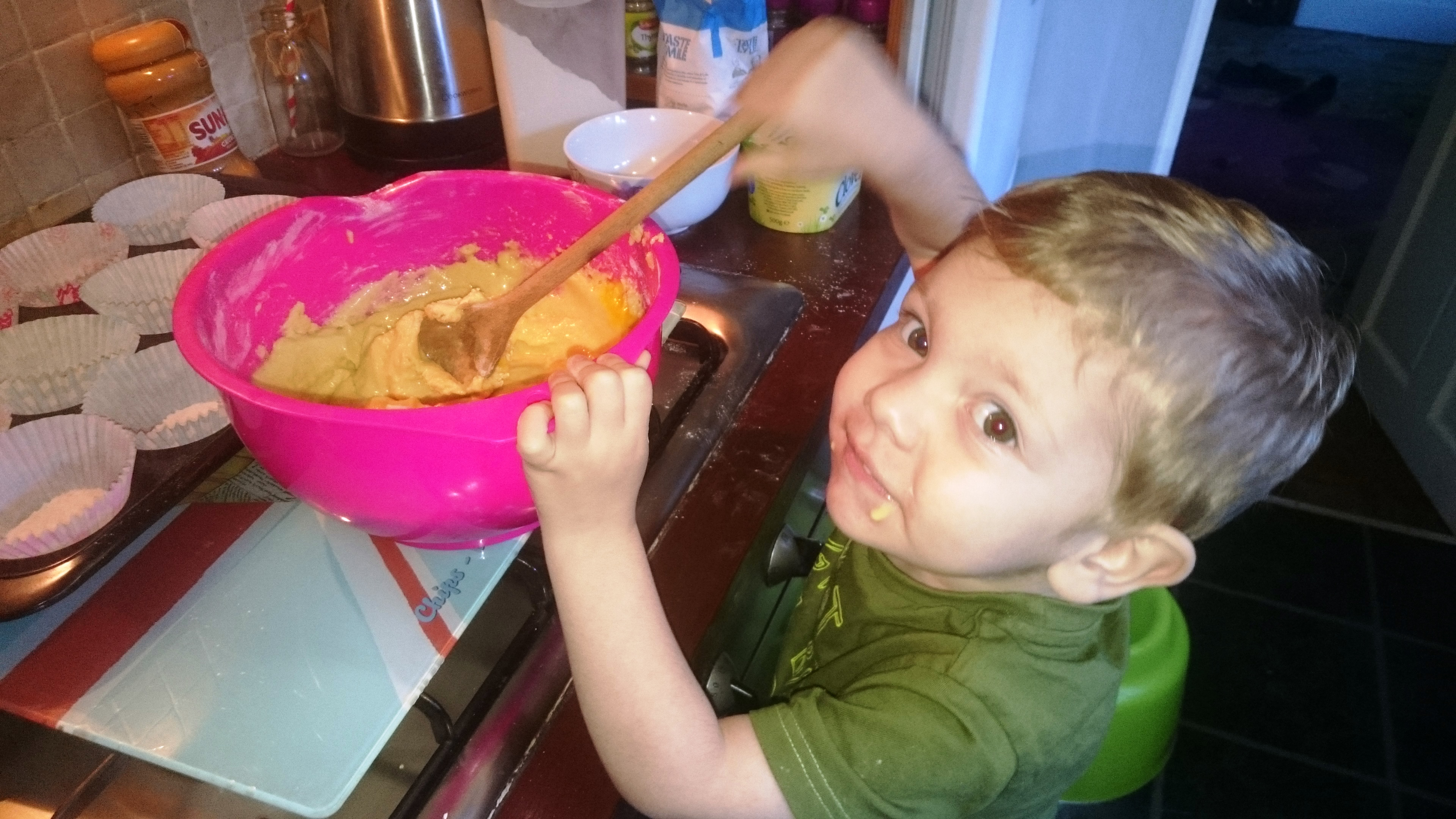Mixing the cake